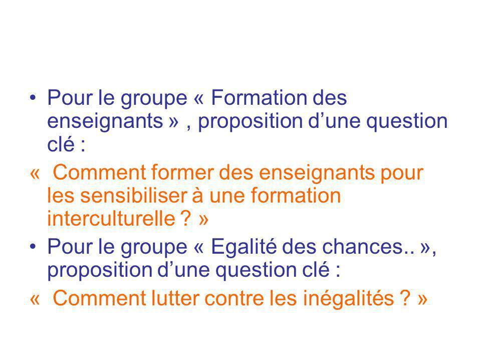 Pour le groupe « Formation des enseignants » , proposition d'une question clé :