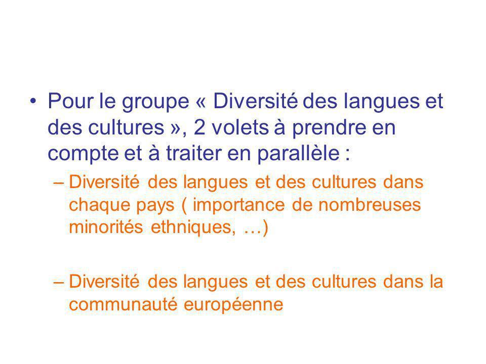 Pour le groupe « Diversité des langues et des cultures », 2 volets à prendre en compte et à traiter en parallèle :