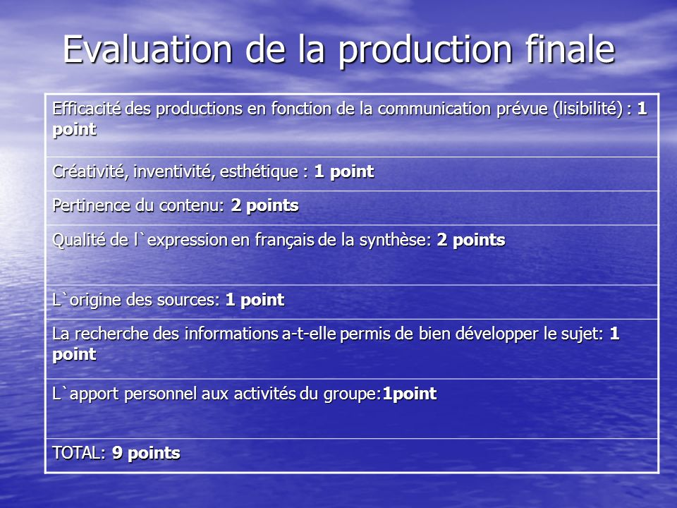 Evaluation de la production finale