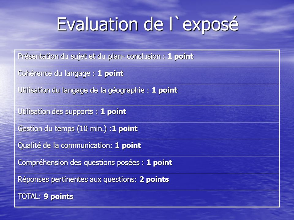 Evaluation de l`exposé