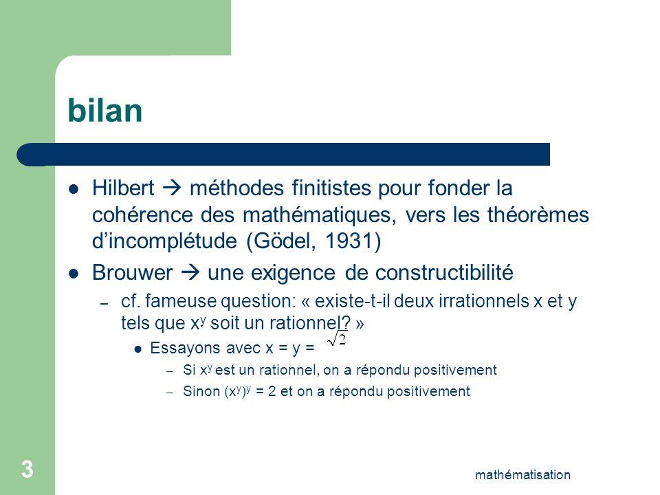 bilanHilbert  méthodes finitistes pour fonder la cohérence des mathématiques, vers les théorèmes d'incomplétude (Gödel, 1931)