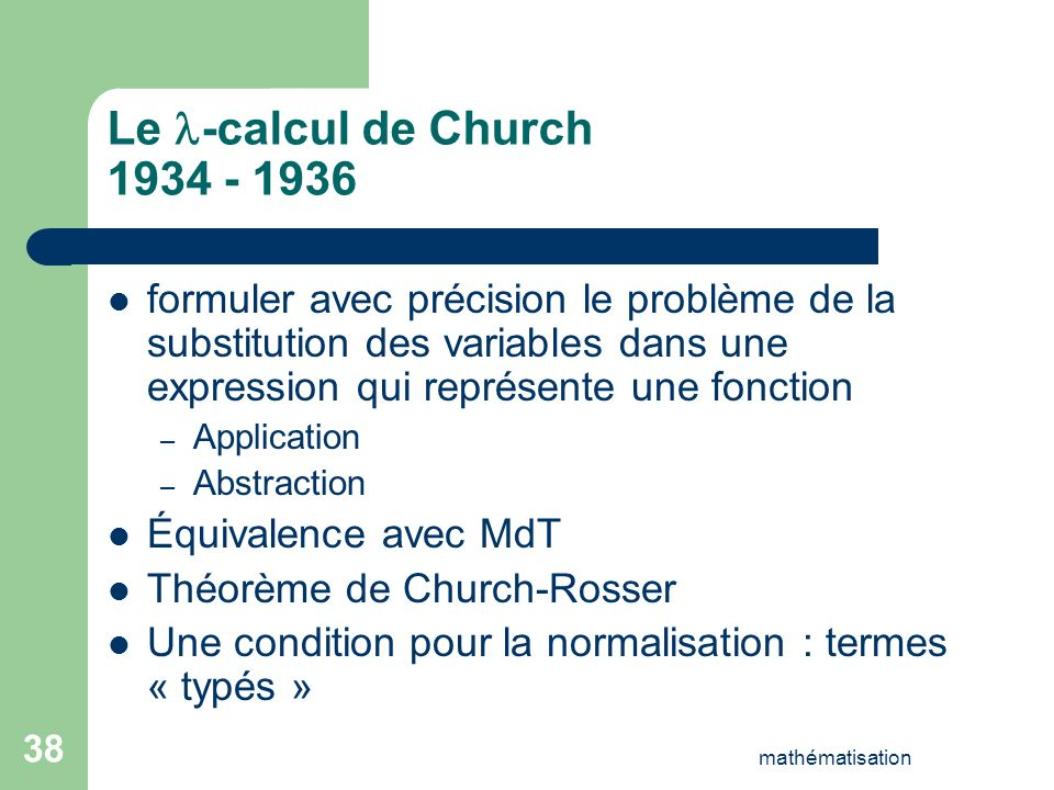 Le -calcul de Church 1934 - 1936