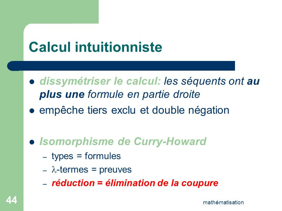 Calcul intuitionniste