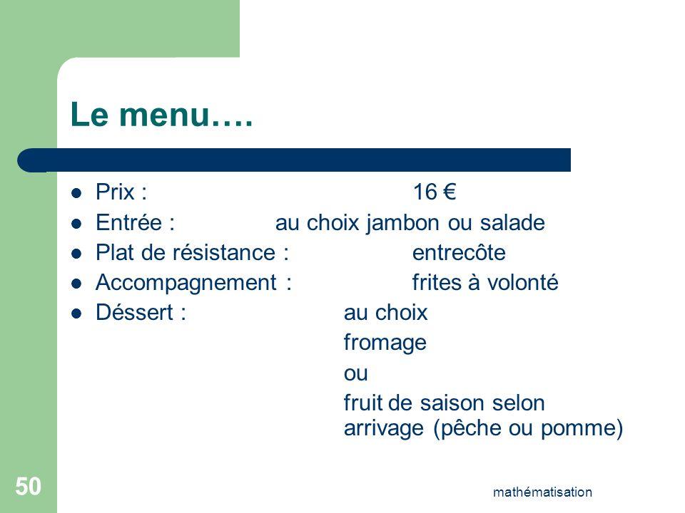 Le menu…. Prix : 16 € Entrée : au choix jambon ou salade