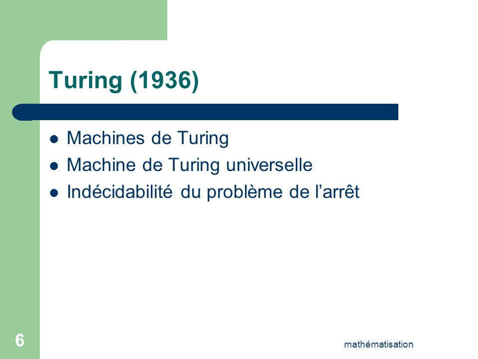 Turing (1936) Machines de Turing Machine de Turing universelle