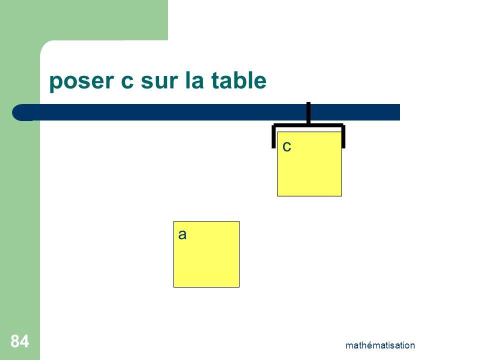 poser c sur la table c a mathématisation