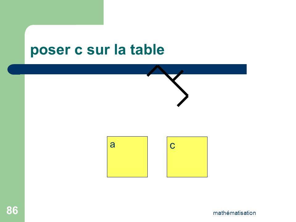poser c sur la table a c mathématisation
