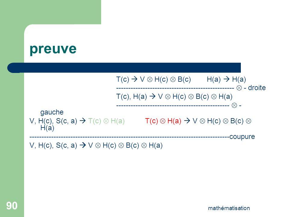 preuve T(c)  V  H(c)  B(c) H(a)  H(a)