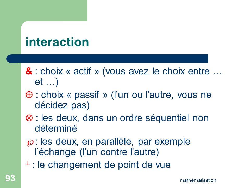 interaction & : choix « actif » (vous avez le choix entre … et …)