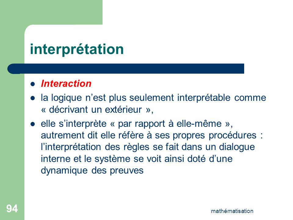 interprétation Interaction