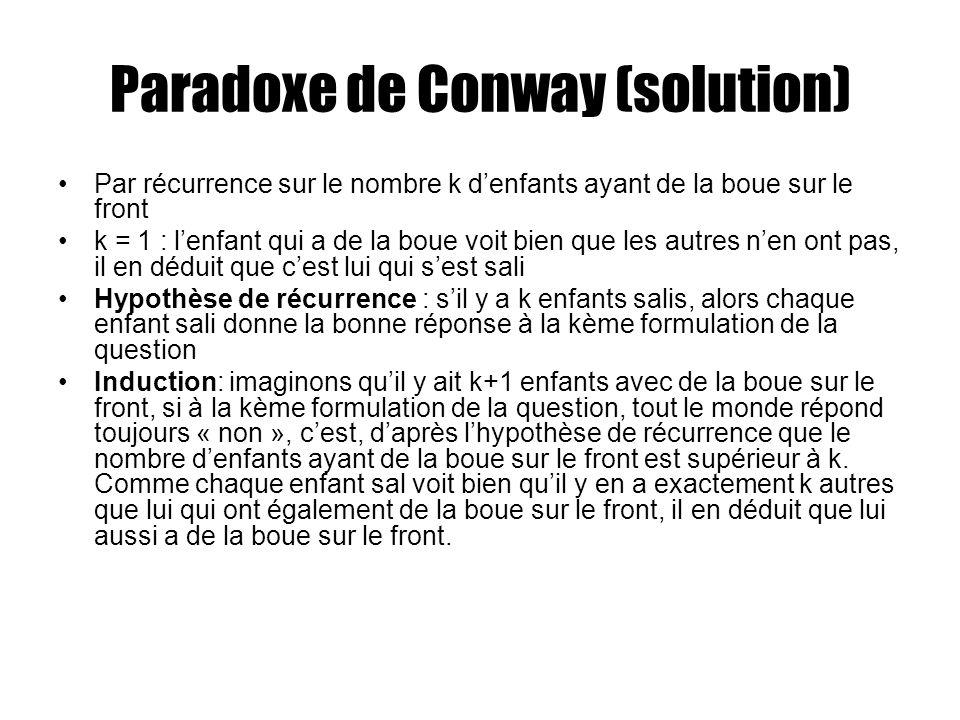 Paradoxe de Conway (solution)