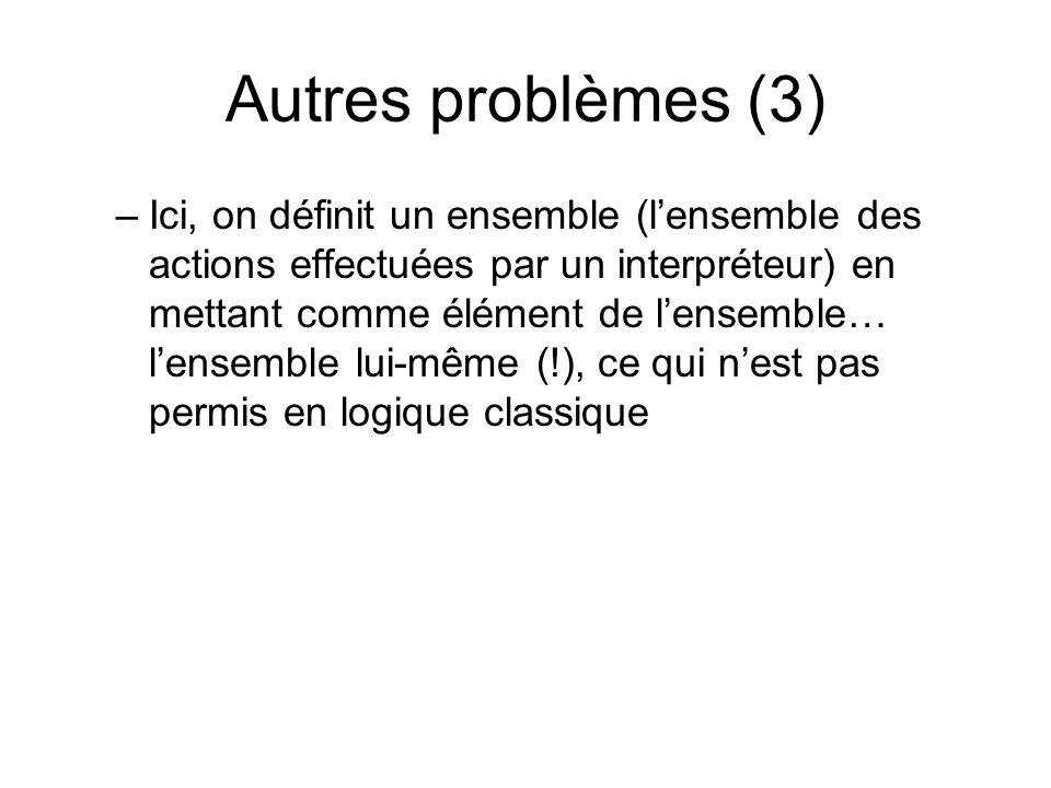 Autres problèmes (3)