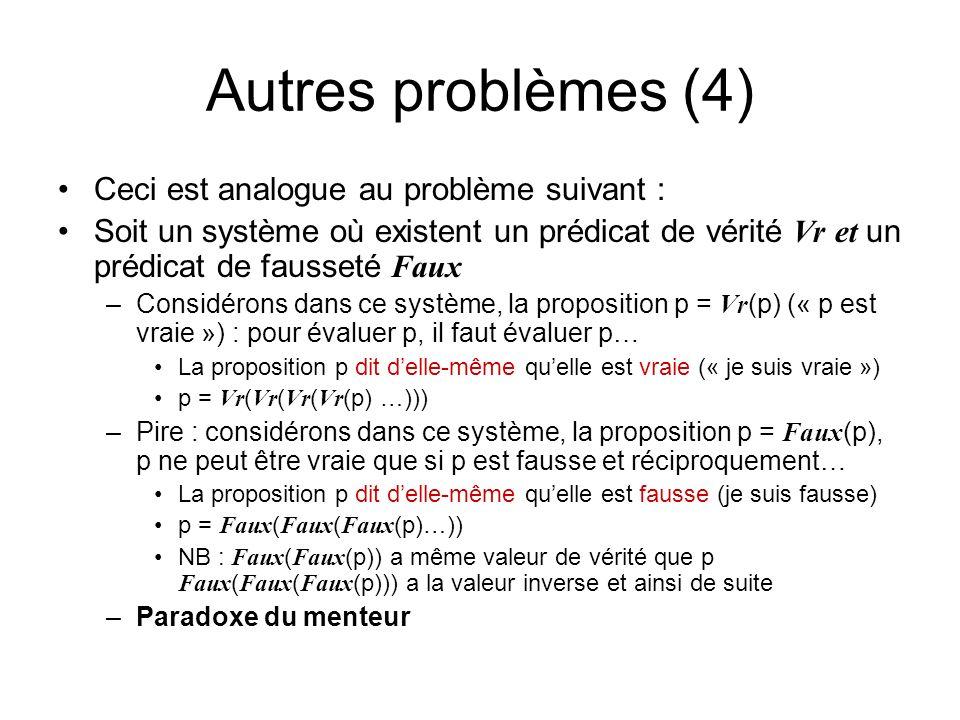 Autres problèmes (4) Ceci est analogue au problème suivant :
