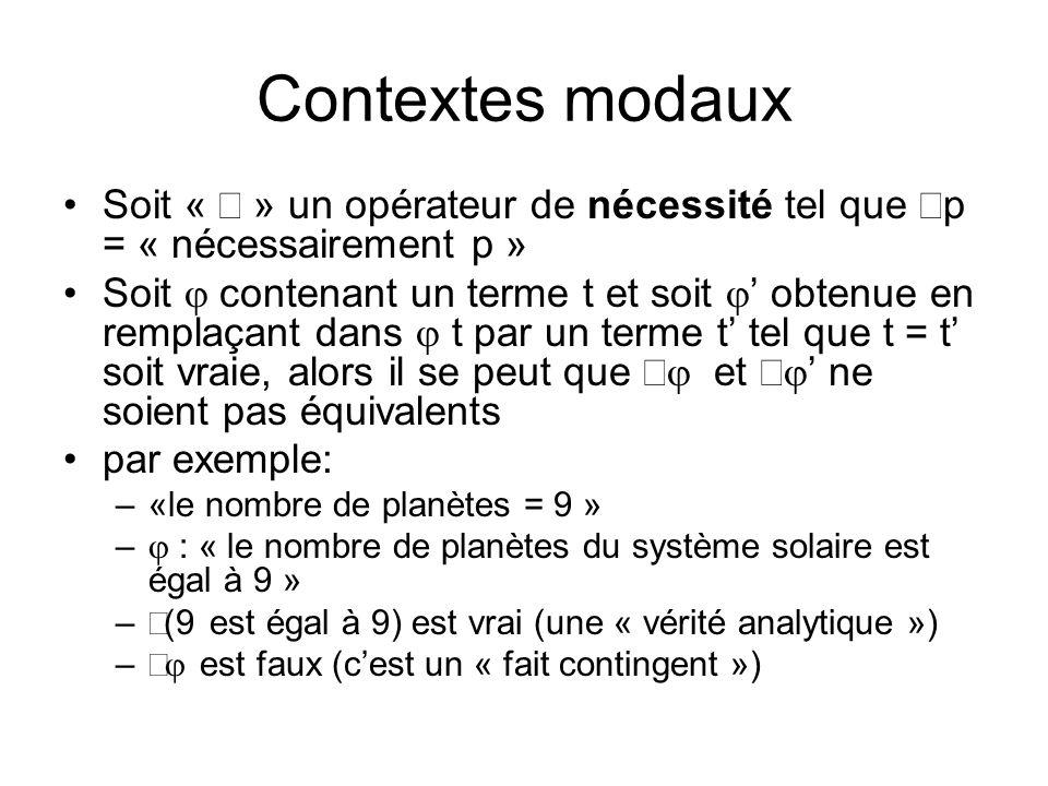 Contextes modaux Soit «  » un opérateur de nécessité tel que p = « nécessairement p »