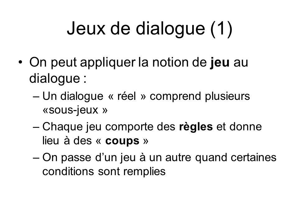 Jeux de dialogue (1) On peut appliquer la notion de jeu au dialogue :