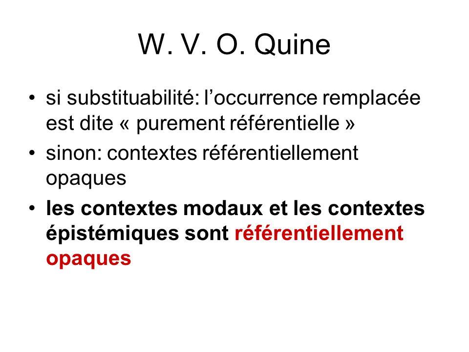 W. V. O. Quine si substituabilité: l'occurrence remplacée est dite « purement référentielle » sinon: contextes référentiellement opaques.