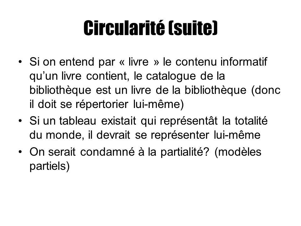 Circularité (suite)