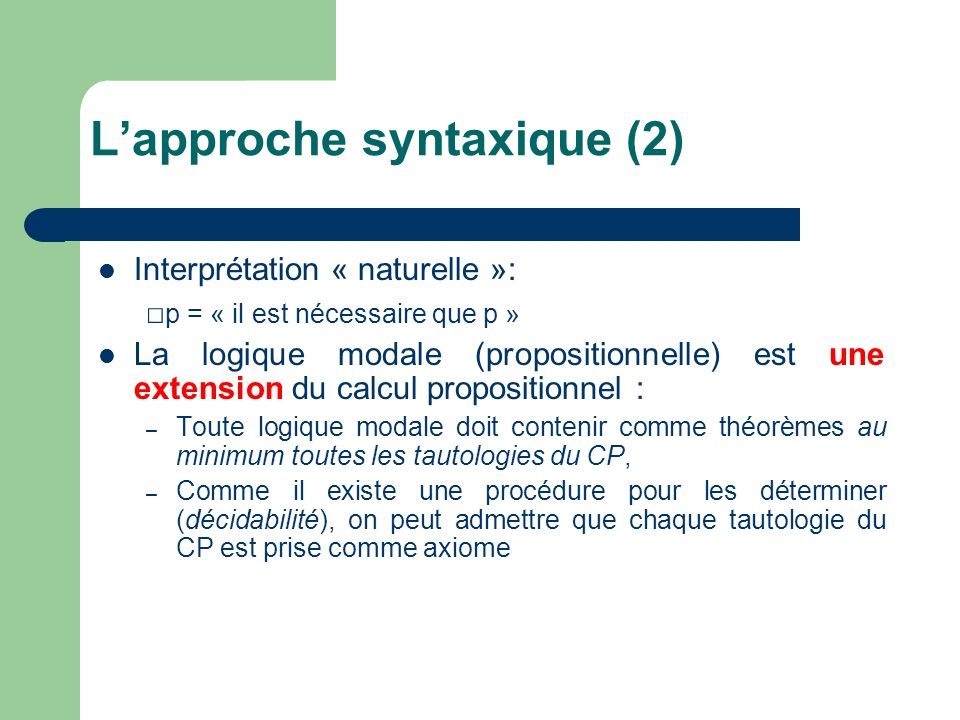 L'approche syntaxique (2)