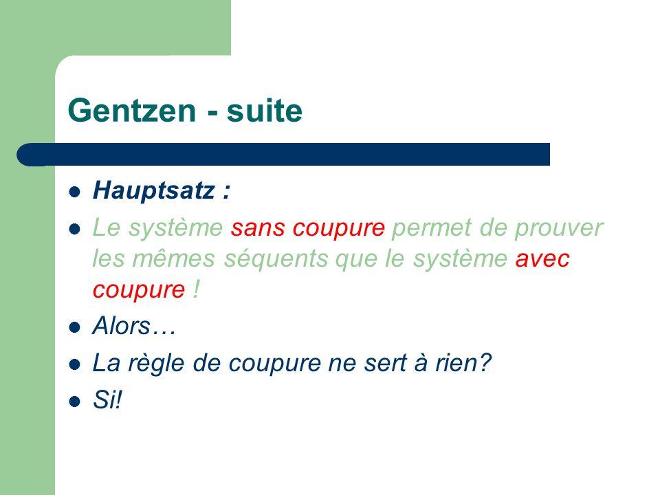 Gentzen - suite Hauptsatz :