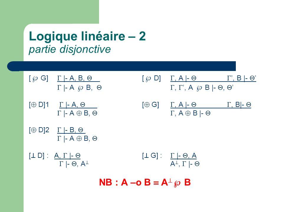 Logique linéaire – 2 partie disjonctive