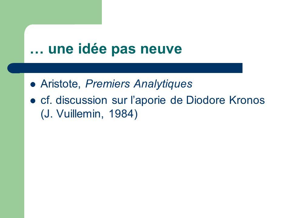 … une idée pas neuve Aristote, Premiers Analytiques