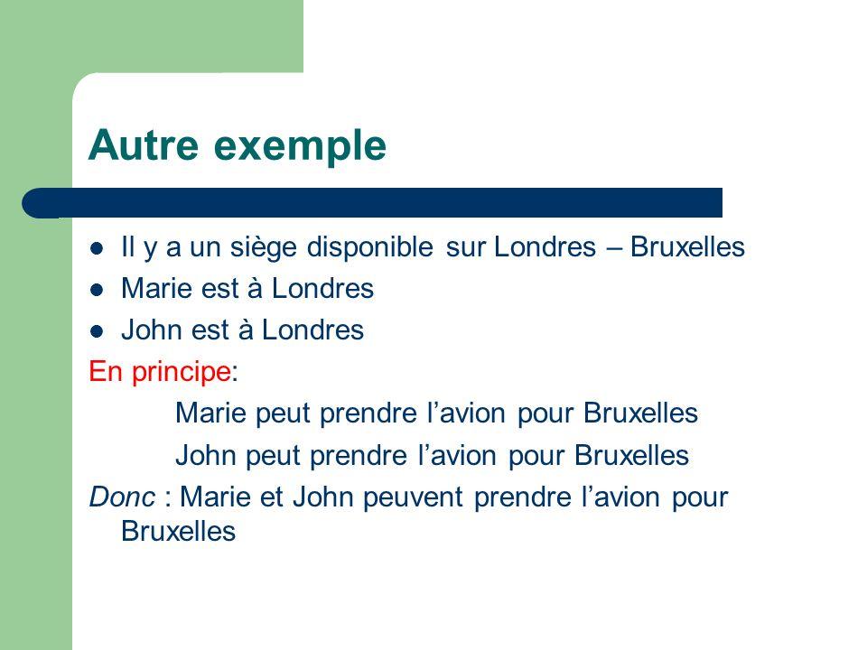 Autre exemple Il y a un siège disponible sur Londres – Bruxelles