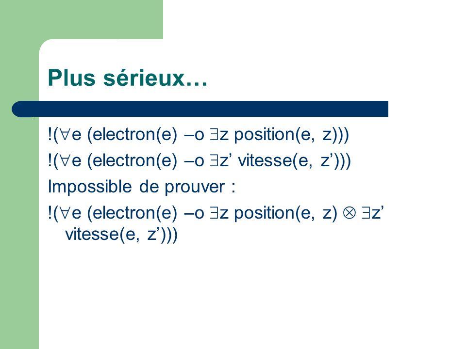 Plus sérieux… !(e (electron(e) –o z position(e, z)))