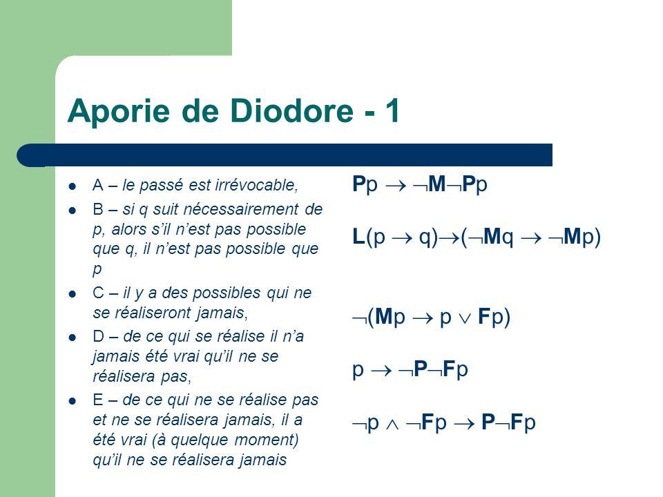 Aporie de Diodore - 1 Pp  MPp L(p  q)(Mq  Mp) (Mp  p  Fp)