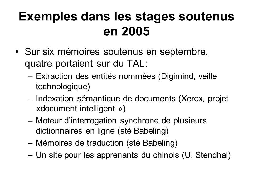 Exemples dans les stages soutenus en 2005