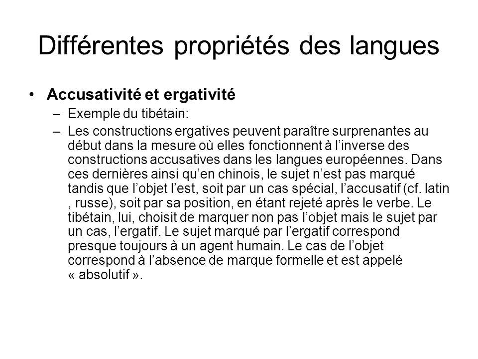 Différentes propriétés des langues