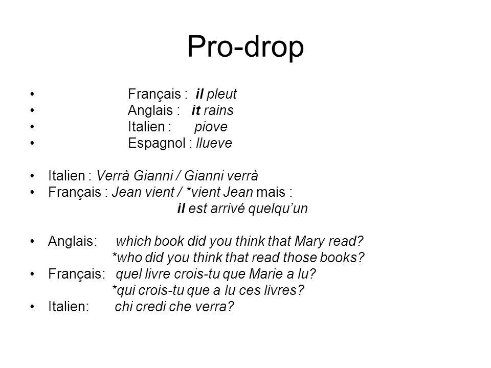 Pro-drop Français : il pleut Anglais : it rains Italien : piove