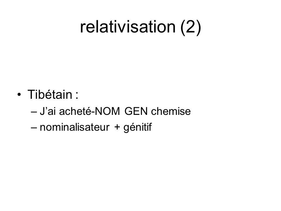 relativisation (2) Tibétain : J'ai acheté-NOM GEN chemise