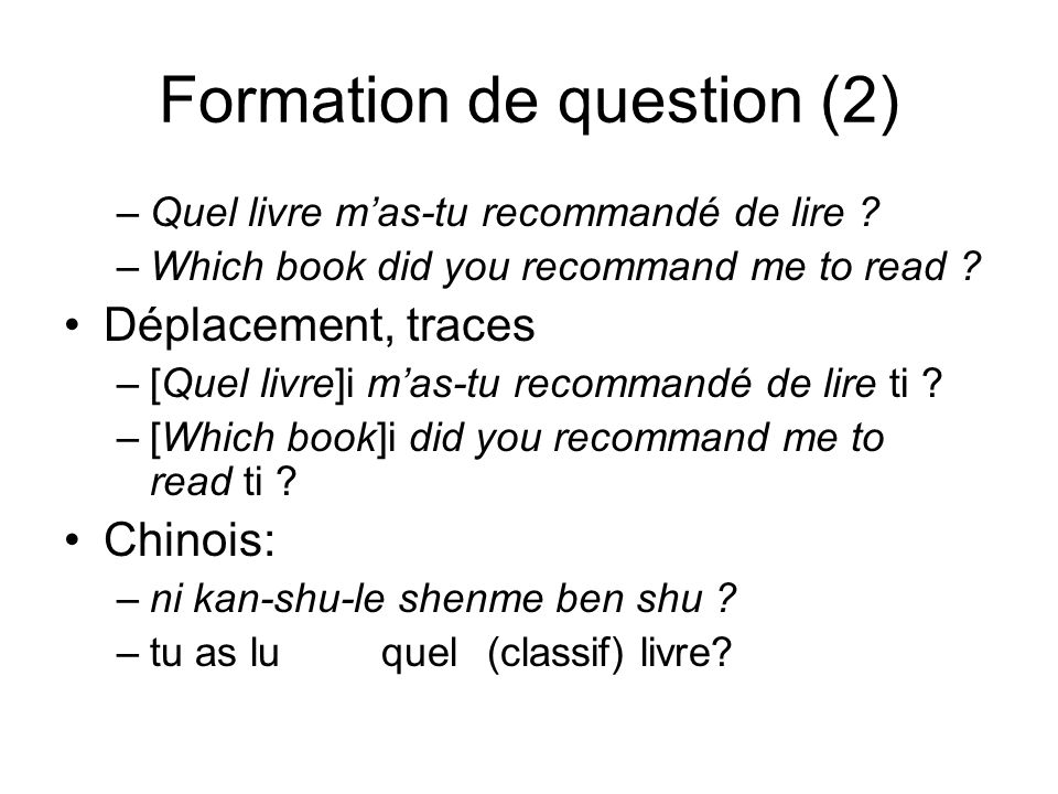 Formation de question (2)
