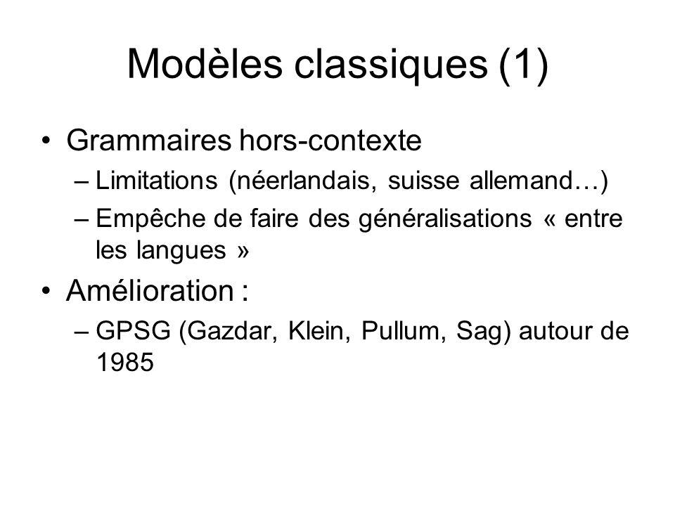 Modèles classiques (1) Grammaires hors-contexte Amélioration :