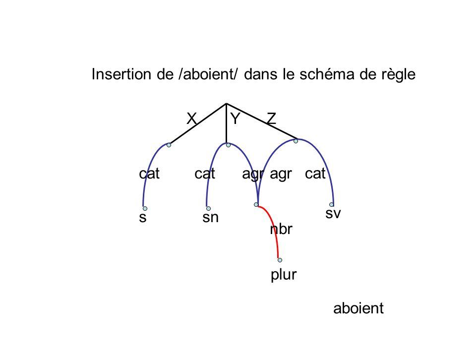 Insertion de /aboient/ dans le schéma de règle