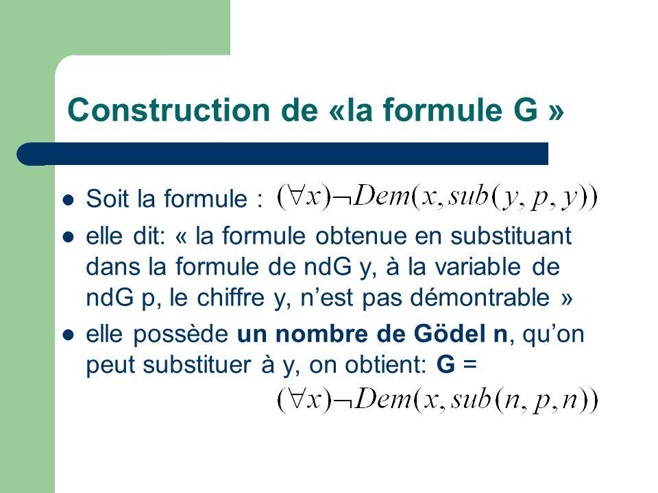 Construction de «la formule G »