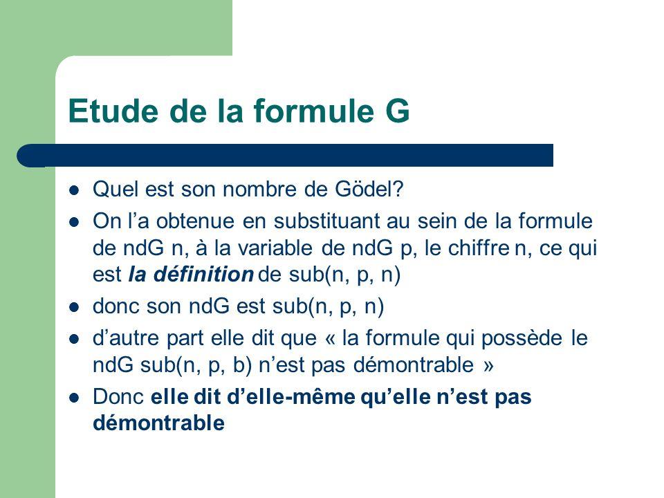 Etude de la formule G Quel est son nombre de Gödel