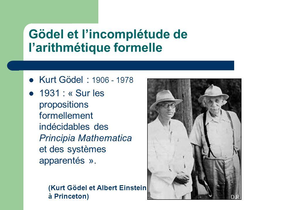 Gödel et l'incomplétude de l'arithmétique formelle
