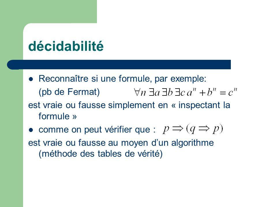 décidabilité Reconnaître si une formule, par exemple: (pb de Fermat)