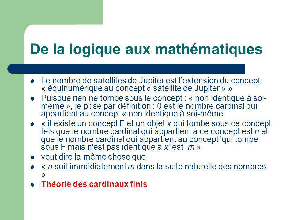 De la logique aux mathématiques
