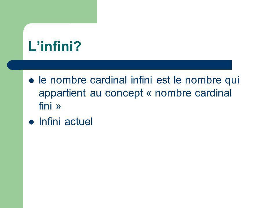 L'infini le nombre cardinal infini est le nombre qui appartient au concept « nombre cardinal fini »