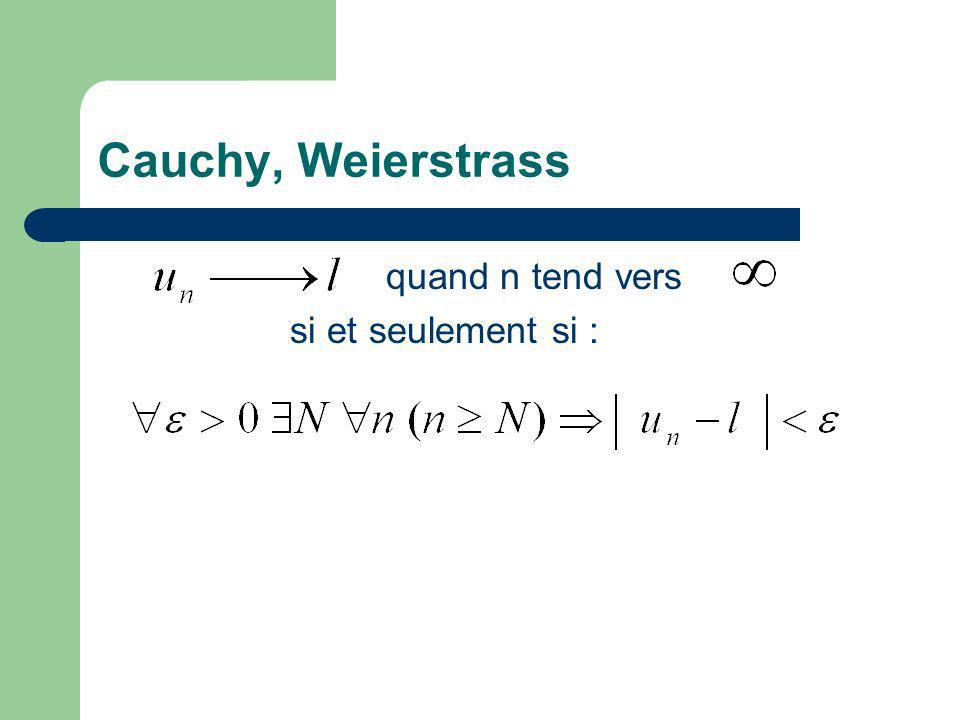Cauchy, Weierstrass quand n tend vers si et seulement si :