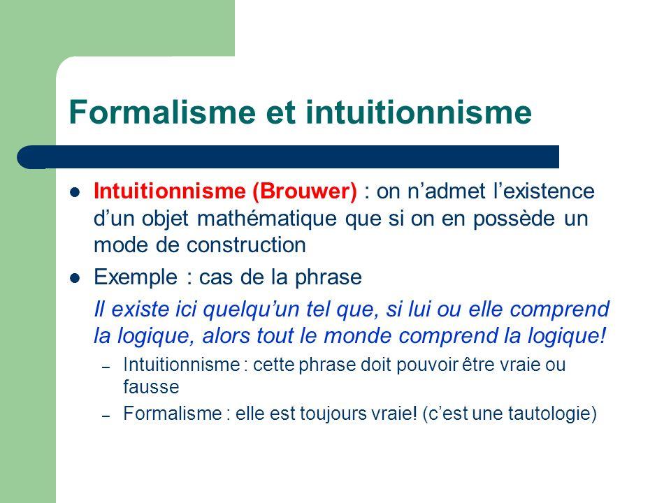 Formalisme et intuitionnisme