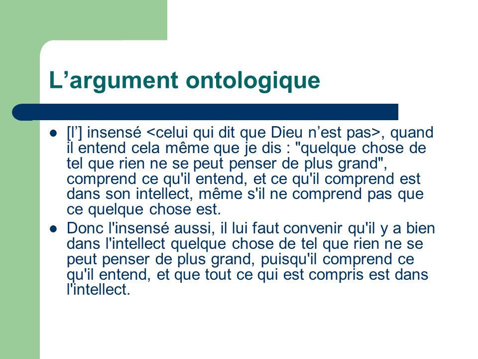 L'argument ontologique