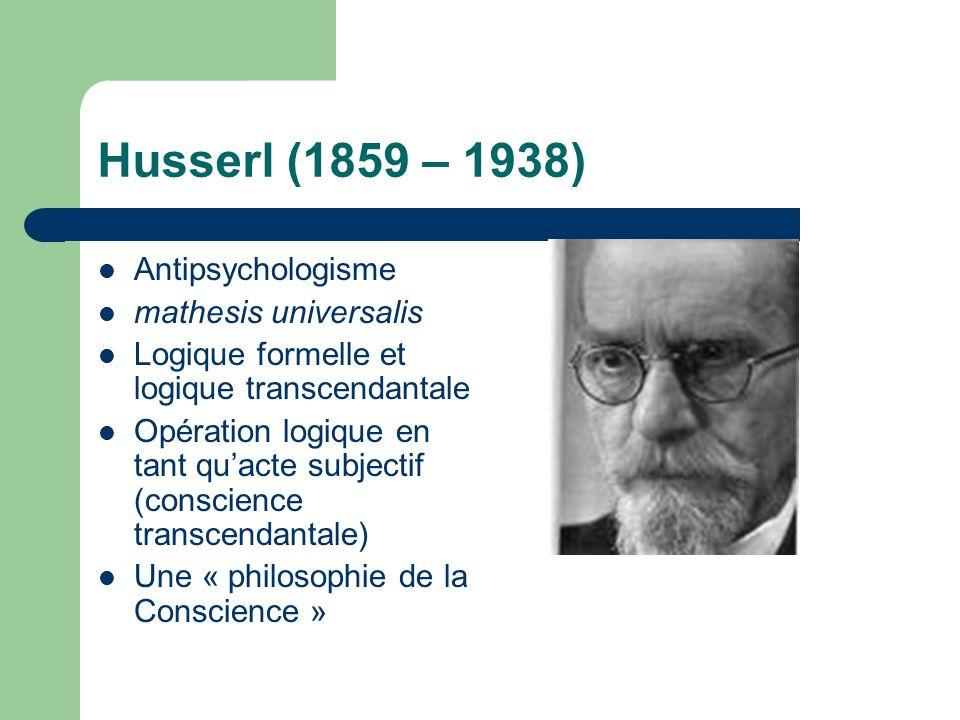 Husserl (1859 – 1938) Antipsychologisme mathesis universalis