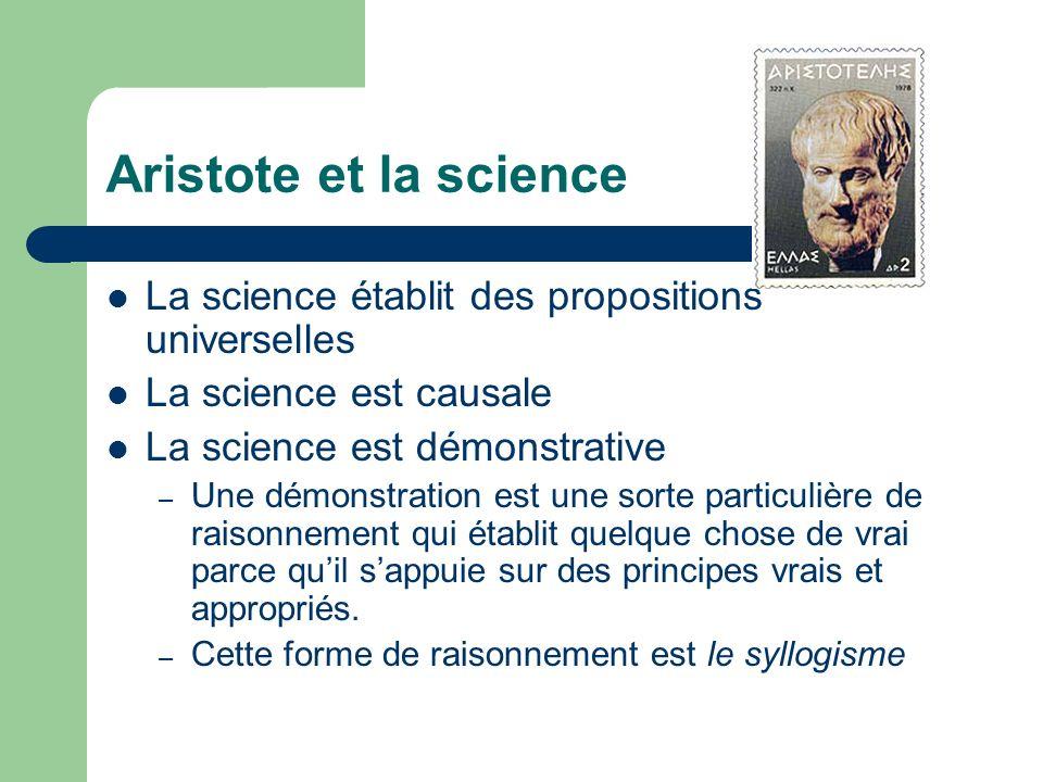 Aristote et la science La science établit des propositions universelles. La science est causale. La science est démonstrative.
