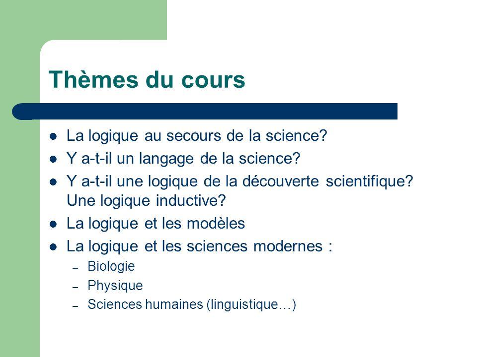 Thèmes du cours La logique au secours de la science