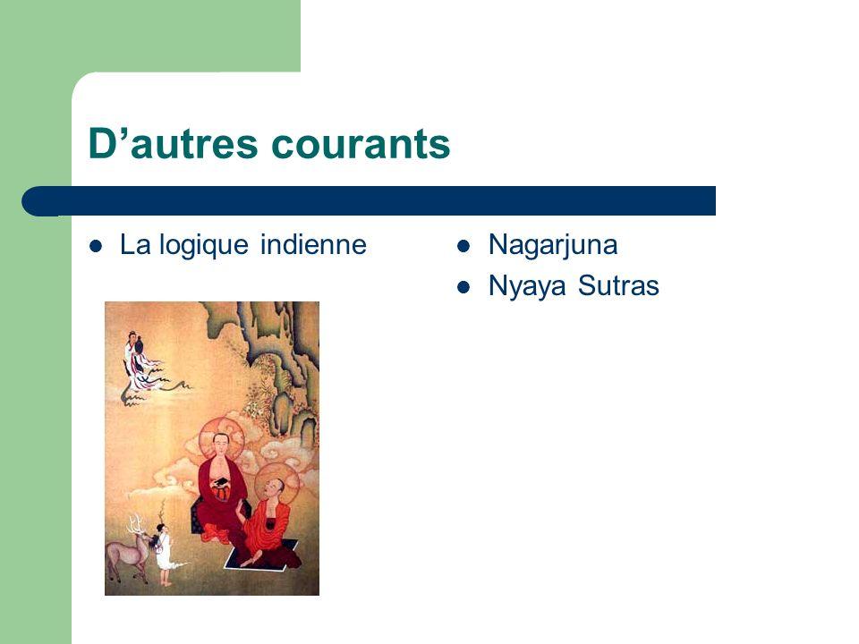 D'autres courants La logique indienne Nagarjuna Nyaya Sutras