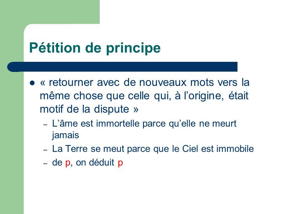 Pétition de principe « retourner avec de nouveaux mots vers la même chose que celle qui, à l'origine, était motif de la dispute »