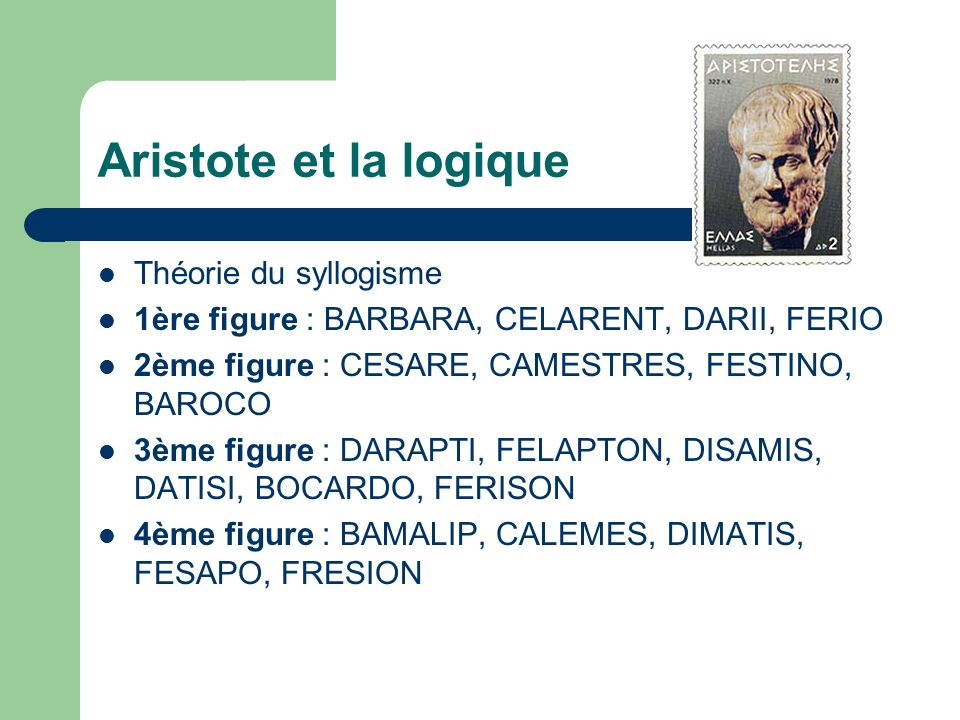 Aristote et la logique Théorie du syllogisme